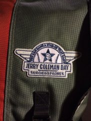 This Jerry Coleman Day patch was a giveaway on September 15, 2012 at Petco Park when the San Diego Padres hosted the Colorado Rockies. I missed the game, due to living in San Francisco, so I had to track this down on eBay. I now wear it on my backpack.