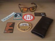 The first Bring Back The Brown glasses that San Diego based company, Knockaround did. They sent out a cool Padres related related package to those who ordered it. Unfortunately, I got a Jack Clark card with mine.