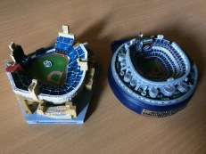 Stadium giveaways of both Petco Park and Jack Murphy Stadium (I refuse to ever call it Qualcomm). The Jack Murphy replica was given away on at the last Padres game there, on September 23rd, 2003. The Petco replica was given away on July 18th, 2015. I didn't attend either game though. Thank you, eBay.