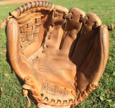 About 10 years ago, I decided I wanted to start playing baseball again. I knew that the old glove that I had at the time wasn't going to cut it, so I started looking around online for a new one. I found a brand new unused Tony Gwynn Rawlings glove on eBay and knew that it had to be mine. It fit perfectly and I still wear it when I'm not playing first base or catching.